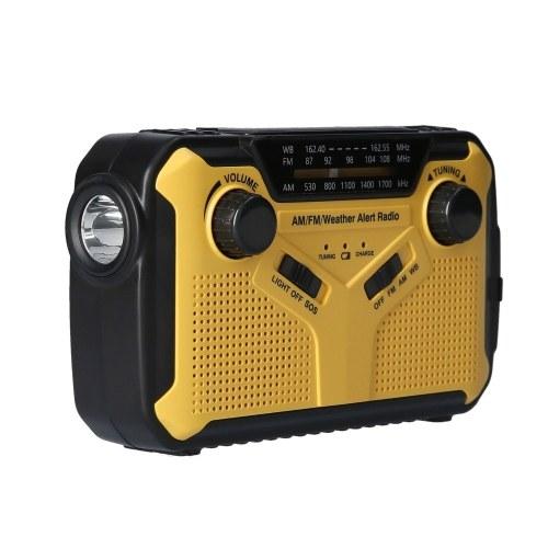 Digital FM AM WB Radio Outdoor Notfall Solar Handkurbel Radio Taschenlampe LED Leselampe SOS Alarm 2500mAh Batterie USB Ausgang 3,5mm Kopfhöreranschluss