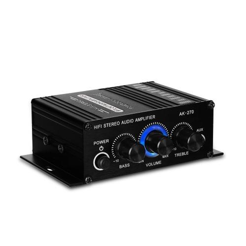 AK270 Mini Audio 2-канальный стерео усилитель мощности Портативный усилитель звука AUX входной динамик Amp для автомобиля и дома