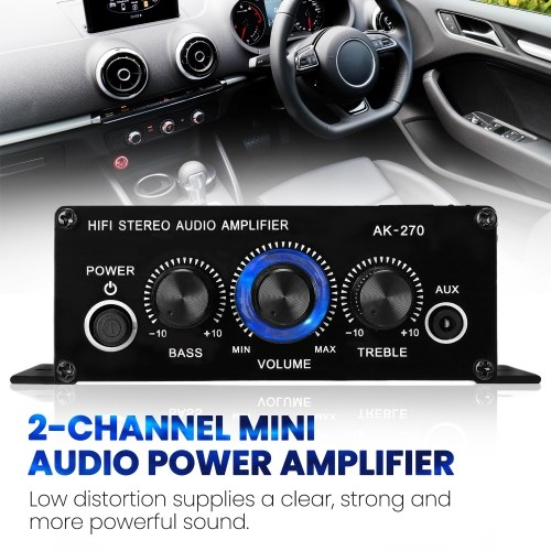 AK270 Mini Audio 2-Channel Stereo Power Amplifier Portable Sound Amplifier AUX Input Speaker Amp for Car and Home V9121