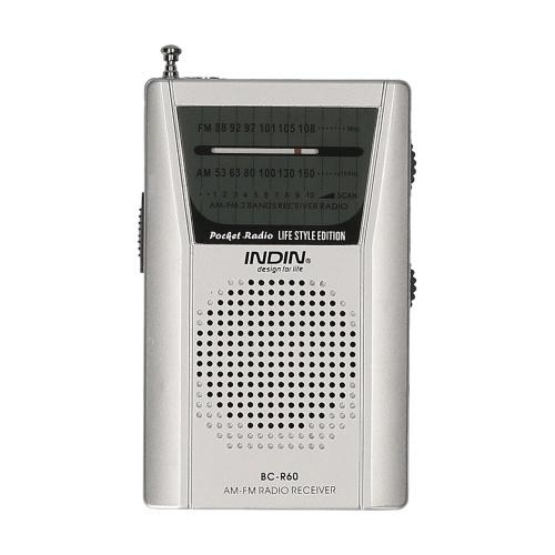 INDIN BC-R60 AM FM портативное карманное радио с батарейным питанием Мини-радио Музыкальный плеер с 2 батареями AA Беспроводной динамик для дома и улицы
