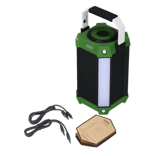 Earson ER-159 Outdoor Bluetooth Speaker w/ LED Light & Colorful Music Wall Light Sound Box Support TF Card USB Aux Input FM Radio Green with Handle
