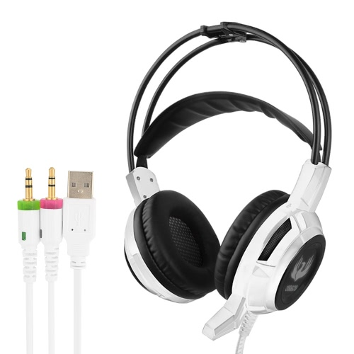 ODDGOD G3 3.5mm Gaming Headset Over Ear Stereo Game Headphone Headband with Mic Volume Control Colorful LED Light White for Laptop Computer PC