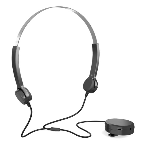 Condução óssea Headsets Auditivos Headphones audiphone Som Pick-up AUX IN Preto para dificuldades auditivas