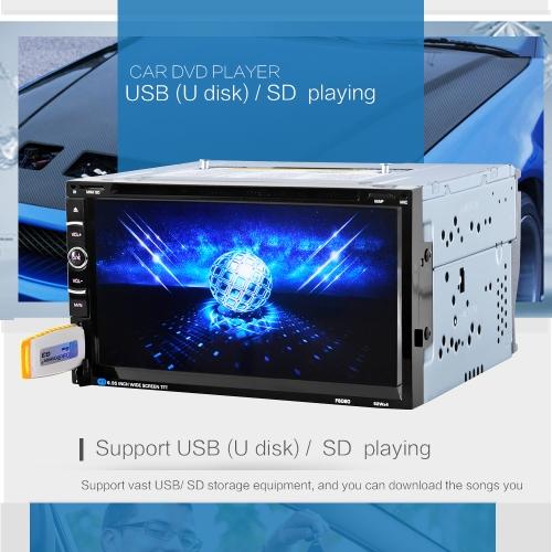 Car Radio Audio 2 Din 6.95'' inch Digital Touch Screen Remote Control Multimedia Video DVD Player BT Handfree Rear View Camera