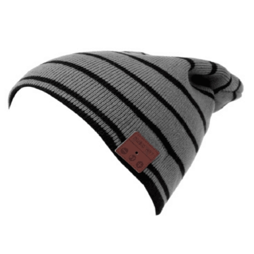 Wireless BT Beanie Headphone Winter Hat Cinzento