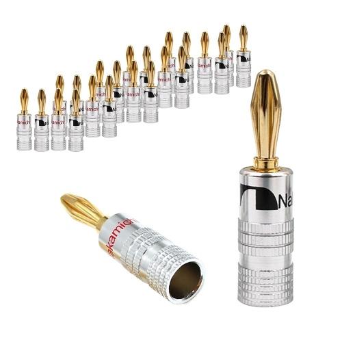 Conectores tipo banana de oro de 24K Conectores de conector de audio Conector de bloqueo de doble tornillo Conectores tipo banana para placa de pared de cable de altavoz 12 pares (24 piezas)