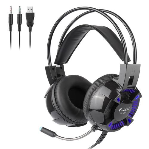 Kubite K1000 Cuffie da gioco cablate da 3,5 mm Cuffie auricolari Suono surround Cuffie con microfono per PC desktop