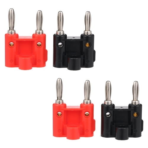 Fileira dupla Banana 4mm Plug Preto + Vermelho 4mm Speaker Plug Adapter Audio Plug Lantern Cross Connector