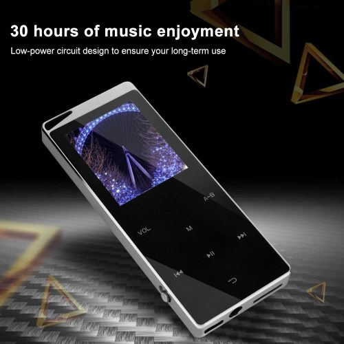 8GB MP3 Player Portable Ultra-thin Digital Music Player TF Card Slot Touch Button FM Radio Support BT Function with 3.5mm Headphones Luxury Metal Shell Rechargeable Battery