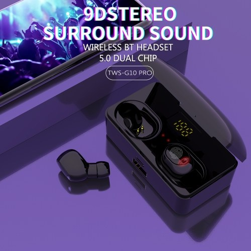 G10 PRO TWS Touch-controlled Earbuds Wireless Stereo Sound Earphones Bluetooth5.0+EDR Sports Headset with Charging Box LED Battery Display