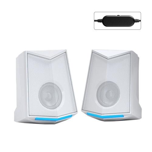 V-115 Ordinateur de bureau Haut-parleur Audio 2.0 Canal audio Son stéréo 3W Puissance de sortie USB Mini Portable Subwoofer pour PC Téléphone portable