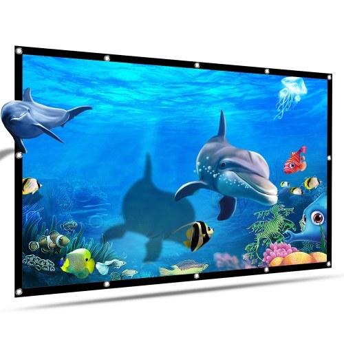 Портативный проекционный экран HD 120 дюймов 16: 9 Складной толстый прочный проекционный экран для домашнего кинотеатра на открытом воздухе
