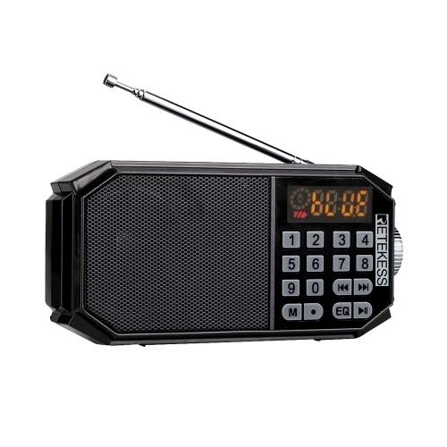 Retekess TR610 Rádio FM Alto-falantes Bluetooth Receptor de Rádio Digital MP3 Player Saída de Fone de Ouvido Display LED Suporte Cartão TF Leitura de Unidade U