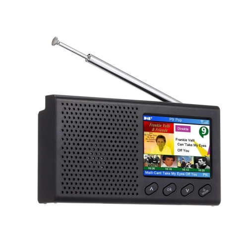 Portable DAB FM Radio Rechargeable Handheld Digital FM DAB Receiver BT Speaker Music Player 2.4-inch Color LCD Display 3.5mm Headphone Jack