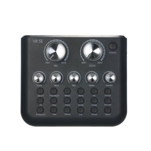 Placa de som externa ao vivo V8SE Mini placa de mixagem de som para transmissão ao vivo, gravação de música, karaokê e 12 efeitos sonoros Conexão BT para smartphone laptop