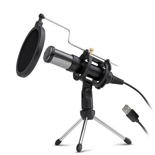 Professional Condenser Microphone USB Plug and Play Home Studio Podcast Vocal Recording Microphones with Mini MIC Stand Dual-layer Acousticfilter for Phone Laptop PC Tablet
