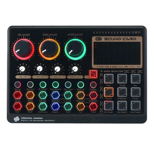 X6mini Externe Live-Soundkarte Mini-Sound-Mischpult für Live-Streaming-Musikaufzeichnung Karaoke-Tasten für Hintergrundbeleuchtung mit 14 Spezialeffekten BT-Anschluss für Smartphone-Laptop-PC