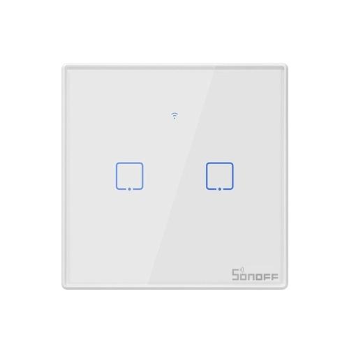 SONOFF T2EU2C-TX 2 Gang Smart WiFi настенный выключатель света 433Mhz RF Remote Control APP / Таймер сенсорного управления Smart Switch на стандартной панели ЕС, совместимый с Google Home / Nest и Alexa