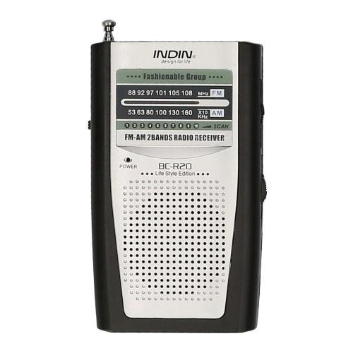 INDIN BC-R20 AM FM портативное карманное радио с батарейным питанием Мини-радио Музыкальный плеер с 2 батареями AA Беспроводной динамик для дома и на открытом воздухе