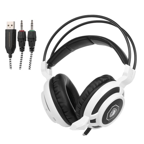 SADES Professional Gaming Headphone with Mic 3.5mm Over Ear Stereo Gaming Headset with Colorful LED Light Noise Cancellation & Wonderful Sound Effect Music Earphones with Adjustable Headband for Desktop Notebook Laptop