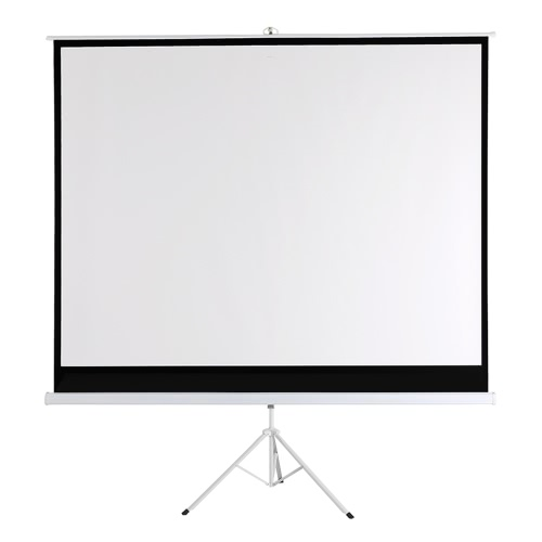 100-Inch HD Projection Screen Manual Pull Down 100Inch Diagonal Aspect Ratio 1:1 Projection Screen w/ Adjustable Length Tripod US Plug