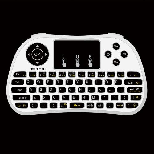 Docooler P9 2.4G RF Clavier Sans Fil Clavier Flash Rétro-éclairé w/ Touchpad Mouse Combo Clés multimédia Télécommande de poche pour Android TV BOX PC Smart TV HTPC Tablet Smartphone