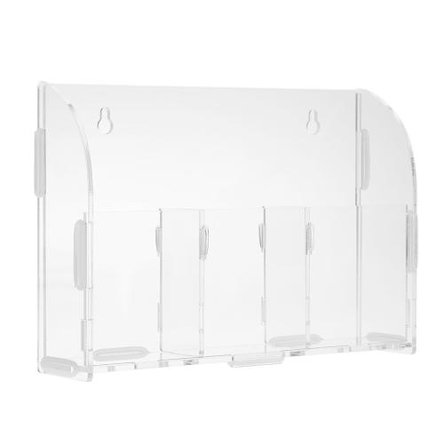 Caixa de armazenamento de controle remoto de acrílico Cofre de armazenamento Sundries Suporte de parede montado para armazenamento com 3 grades para escritório doméstico
