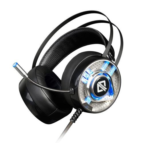 AJAZZ AX360 3.5mm Stéréo Gaming Headset Sur Les Écouteurs D'oreille avec Microphone Flexible Annulation Du Bruit Coloré LED Lumières Contrôle Du Volume pour Ordinateur Portable PC Portable