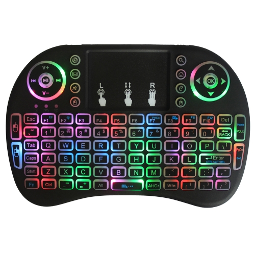 2.4GHz Colorful Backlit Wireless QWERTY Keyboard Touchpad Mouse