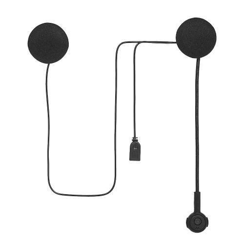 Capacete de motocicleta Fone de ouvido Intercomunicador BT Capacete sem fio Heaphones Fone de ouvido Mãos livres com microfone Controle de chamadas de música Preto
