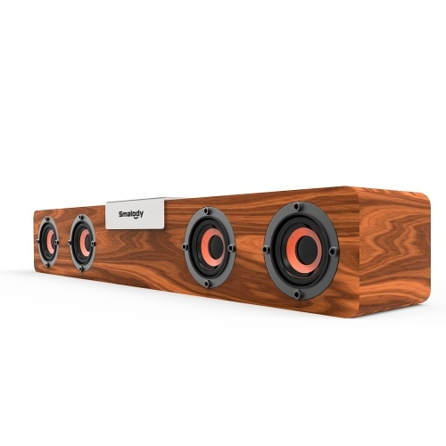 SMALODY SL-90H Wooden Bluetooth Soundbar Bluetooth 5.0 Speaker Wireless Subwoofer 5W*4 Loudspeakers Supporting TF Card Expansion TWS Mode