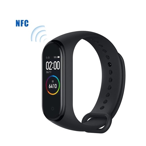 Xiaomi Mi Band 4 Bracciali intelligenti Versione NFC Nero AMOLED Schermo a colori Wristband BT 5.0 135 mAh Battery Fitness Tracker SmartWatch