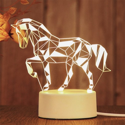 New 3D Lamp Table Night Light Multicolor Cartoon Toy Horse