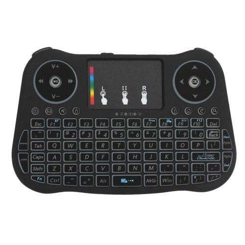 2.4 GHz Teclado Inalámbrico Touchpad Mouse Control Remoto de Mano 4 Colores Retroiluminación Colorida Respiración Luces para Android TV BOX Smart TV PC Portátil