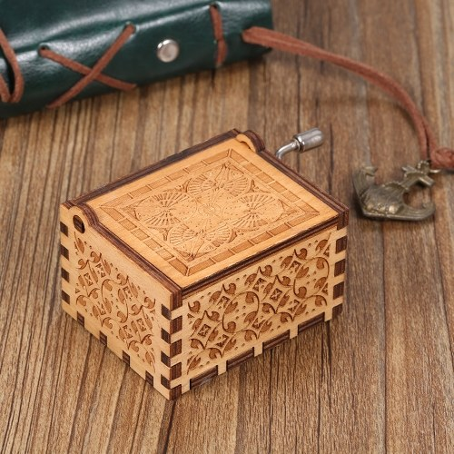 Wood Music Box Mini Vintage Engraved Hand-Operated Musical Box Birthday Christmas Valentine's Day Exquisite Gift