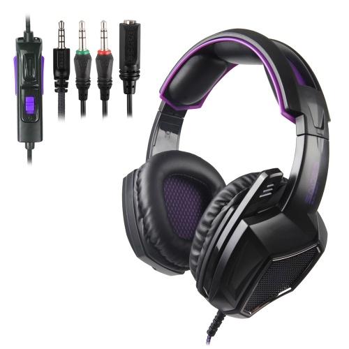 SADES 3,5-mm-Gaming-Kopfhörer Stereo-Over-Ear-Headset-Kopfhörer mit Rauschunterdrückung und Mikrofon-Lautstärkeregler für Laptop-Tablet-Handys