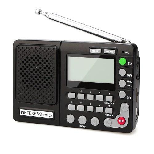 Retekess TR102 FM/AM/SW Portable Radio with Sleep Timer Pocket Radio Receiver MP3 Player Support TF Card