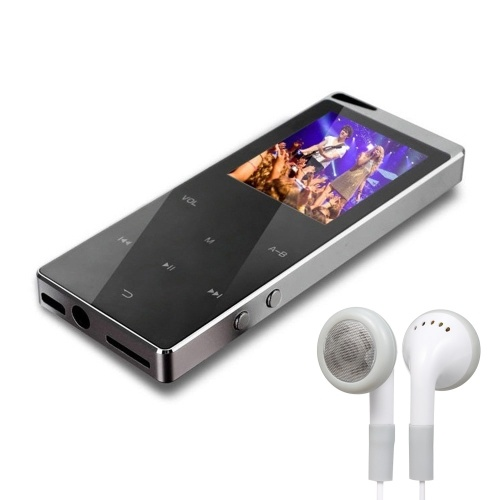 16GB MP3 Player Portable Ultra-thin Digital Music Player TF Card Slot Touch Button FM Radio Support BT Function with 3.5mm Headphones Luxury Metal Shell Rechargeable Battery