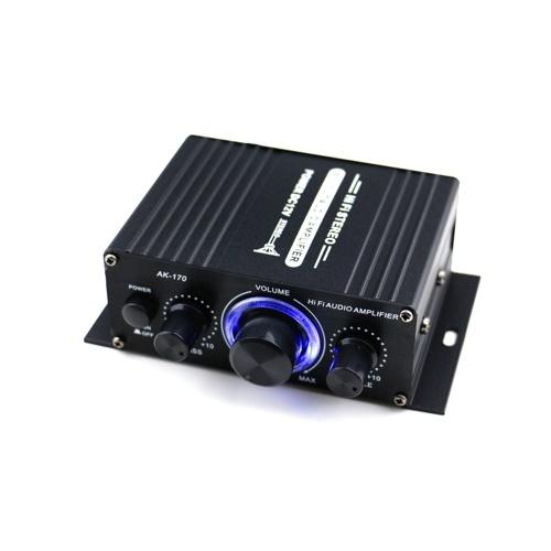 AK170 12V Mini Audio Amplificatore di potenza Ricevitore audio digitale AMP Dual Channel 20W + 20W Bass Treble Controllo del volume per uso domestico dell'automobile