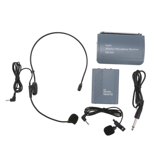 SH-600 VHF Headset Microphone Clip-On Microphone Wireless Microphone Voice AMP with 6.35/3.5MM Cable for Teaching Speeches Meetings Performance Karaoke