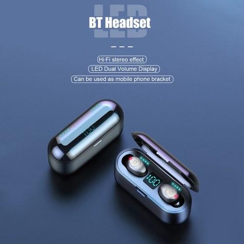 F9 TWS Wireless BT Earphone Mini Binaural In-Ear 8D HiFi Sports Earbuds LED Digital Display Battery-Quantity Waterproof Earphone with Charging Case