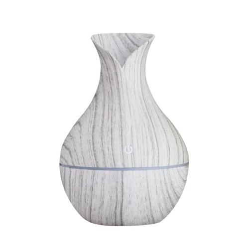 Macchina per aromaterapia dell'olio essenziale della camera da letto dell'umidificatore per l'ufficio domestico (luce a sette colori del grano di legno bianco grigio)