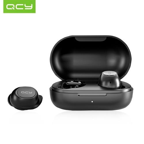 QCY-T9SイヤホンBT5.0真のワイヤレスステレオヘッドフォン、デュアルマイクインイヤーノイズリダクションスポーツステレオヘッドセット、380mAh充電ボックス付き