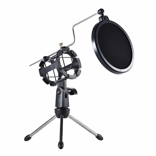 Microphone Tripod Stand Foldable Desktop Microphone Bracket with Shock Mount Mic Holder Clip Pop Filter
