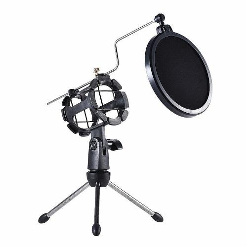 Support de trépied pour microphone Support de microphone de bureau pliable avec support anti-choc pour microphone Clip Pop Filter