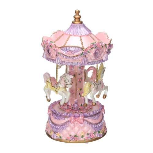 Carousel Music Box with LED Light Music Case Luminous BT TF Card Music Player Children Toy Decor Christmas Festival Presents Birthday Gifts