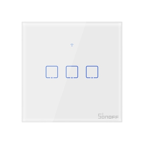 SONOFF T1UK3C-TX 3 Gang Smart WiFi Wall Light Switch 433Mhz RF Remote Control APP/Touch Control Timer UK Standard Panel Smart Switch Compatible with Google Home/Nest & Alexa