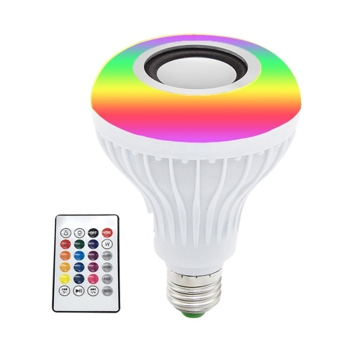 12W RGB BT Colorful Music Bulb LED Lamp E27 Wireless Speaker Smart Light Music Player Audio with Remote Control