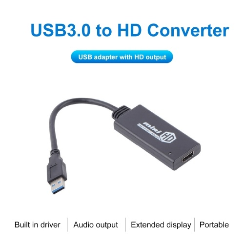 Portable Mini USB3.0 to HD Converter 1080P Video Cable Adapter for PC TV Monitor