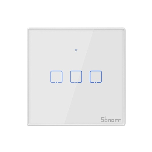 SONOFF T2EU3C-TX 3 Gang Smart WiFi Wall Light Switch 433Mhz RF Remote Control APP/Touch Control Timer EU Standard Panel Smart Switch Compatible with Google Home/Nest & Alexa